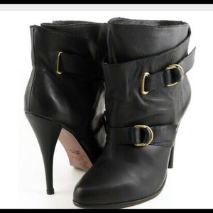 Joie Belted Black Leather Ankle Boots